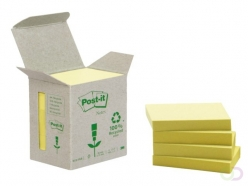 Bloc-mémos Post-it 653-1B 38x51mm 6 blocs recyclé jaune