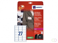 Etiquette badge Avery L4784-20 63.5x29.6mm adhésif 540pcs