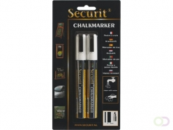 Feutre-craie Securit SMA-510 biseau blanc 2-6mm blister 2pcs
