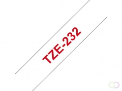 Ruban Brother P-Touch TZE232 12mm rouge sur blanc