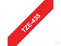 Ruban Brother P-Touch TZE435 12mm blanc sur rouge