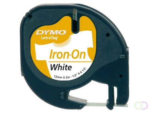 Ruban Dymo Letratag Iron-on 18769 12mm noir sur blanc